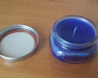 Blue Beeswax Mason Jar Candle - Free Shipping