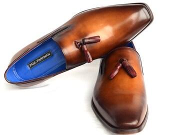 Paul Parkman Men's Tassel Loafer Walnut Leather Sole Leather
