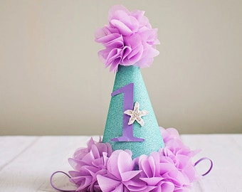 Girl Birthday Hat..Under the Sea 1st Birthday Hat...Lavender Aqua First Birthday Hat..Baby Girl 1st Birthday..3rd birthday .2nd Birthday hat