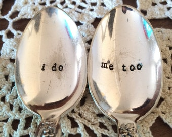 i do, me too - vintage hand stamped coffee spoon set, wedding gift