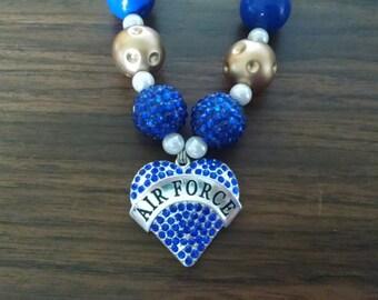 Air Force Heart Toddler Girls Bubblegum Necklace.  Air Force Heart Blue and Gold Gumball Necklace