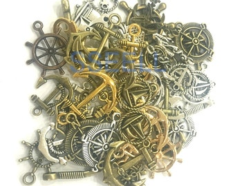 20X Assorted Anchor Rudder Pirate Sailing Charm Pendants TH0014X20