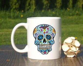 Sugar skull mug-Flower skull mug- Skull coffee mug-Halloween mug-Halloween party-Day of the Dead-Dia de los Muertos-Skull man mug