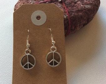 peace sign drop earrings hippy boho handmade jewellery