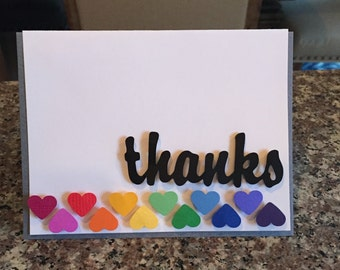 Rainbow Heart Thank You Card