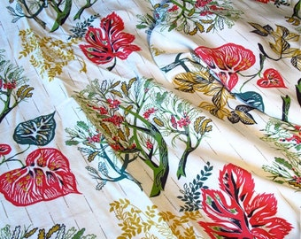 Fanciful Fabric Mid Century Barkcloth Pattern Red Green Gold Leaf and Tree Yardage