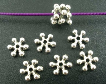 40 Pcs  Silver Tone Flower hot Beads Spacers Findings 7x7mm Ref ;  00022