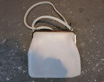 Vintage White PVC Clutch with Elbow Strap