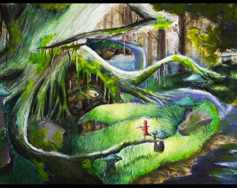 THE FOREST (Original Artwork) Signed Art Print of a Fantasy Forest Scene in Green or Blue
