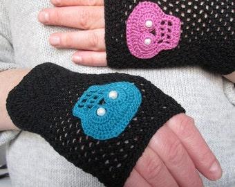 Skeleton Fingerless Gloves  Fingerless Gloves Mittens Skull Crochet wrist warmer Hand Crochet fingerless gloves  Fingerless with skulls