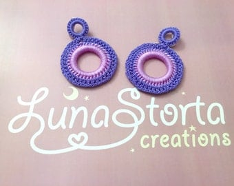 Lilac and purple cotton crochet earrings