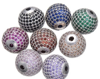 Bulk 8 Colors Mixed Large Size Micro Pave Bead (14mm) / CZ Bead / Pink Cubic Zirconia Ball Bead / European Bead