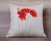 flower pillow cover red pillow floral pillow cover embroidery pillow cross-stitch needlepoint pillows 16 x 16 decorative pillow 40 x 40 cm