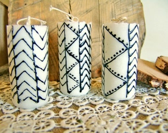 Set of geometrical candles. Palm wax candle. Unscented candle. Handmade candle. Vegan candle. Organic candle. Black and white candle.