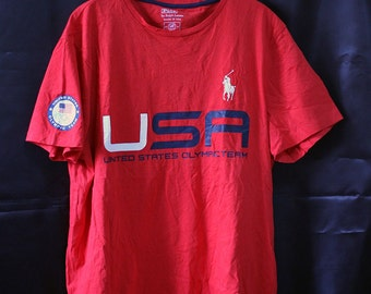 Free shipping Polo Ralph Lauren Official outfitter T Shirt Red Olympic USA Team 2014 Russia Custom Fit XL