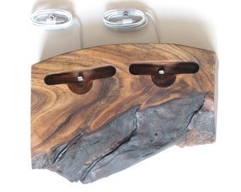 iPhone double docking station, iPhone Charger, walnut iPhone dock/stand made from Walnut