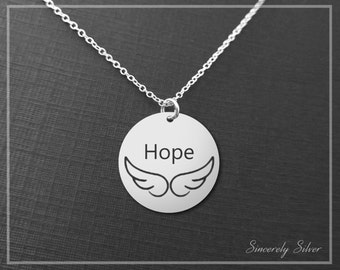 Sympathy Gift Necklace, Hope Necklace, Hope Jewelry, Angel Wing Necklace, Circle Hope Necklace, Hope Pendant, Home Charm