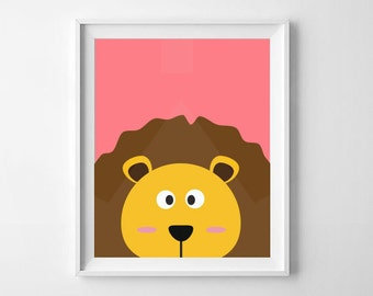 Lion Print | Animal Nursery Print | Nursery, child's room decor | Digital Download
