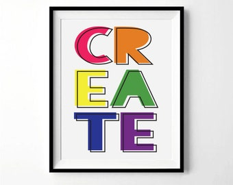Create Print   Playroom, Art, Craft, Teacher, Classroom decor   Digital Download