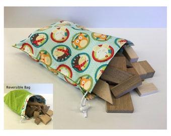 Kids Blocks with Reversible Drawstring Bag