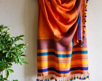 Tribal Scarf - Handloom Cotton weave - Colourful