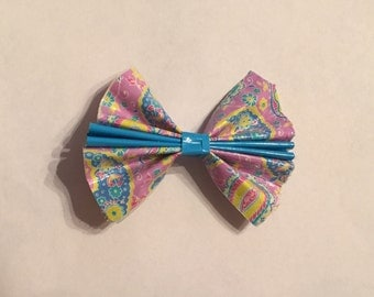 Paisley and Aqua Duct Tape Hair Bow