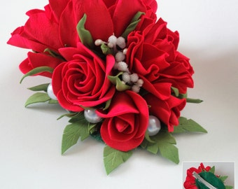 Red roses hair clip