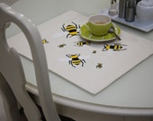 Embroidered Placemats , Bees, Double fabric Place mats, Placemats with Embroidery, Bees Placemat Cotton and Jute Canvas Sets Rectangle Mat