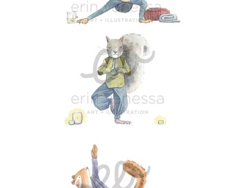 Cute Yogis Yoga Animals Watercolor Print | Wall Art | Nursery Room Decor | 8 x 10 | 11 x 14