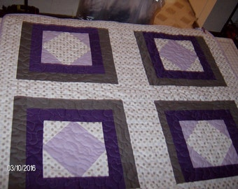 Purple, Grey, and Polka-dots Quilted Throw