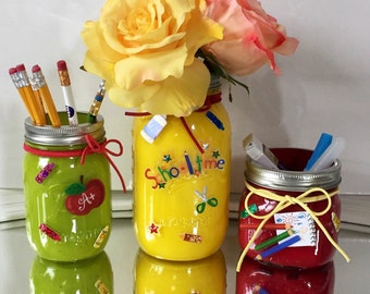 Mason jar decor, painted mason jars, Teacher appreciation gift. Three Mason Jar Set, Teacher's gift, One of a kind!