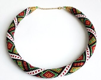 Necklace crochet out of beads Ethno Slavic