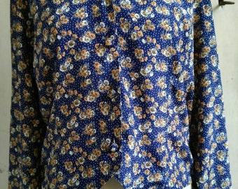Vintage floral and dot blouse
