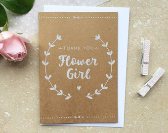 Rustic Flower Girl Thank You Card