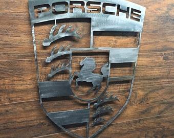 Metal Porsche Sign - 12 Gauge Steel Man Cave Sign - Garage Sign - Office Sign - Engine - Garage - Racing