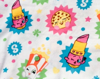 "End of Bolt, Shopkins Flannel Fabric by the yard - Bright Colors 31""x44"""