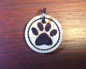 Personalised Paw Print Bamboo Pet ID Tag - Cat Tag - Pet Tag