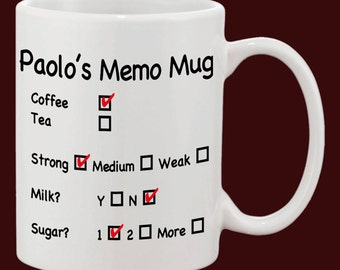 Personalised Memo Mug // Instructions for the perfect cuppa // Unisex Gift