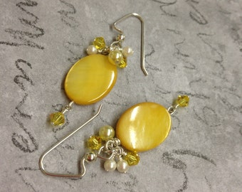 Yellow Pearl and Swarovski Crystal Silver Earrings