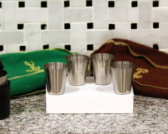 Stainless Steel Shot Glasses (Set of 4 w/ leather case)