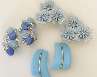 CORO BLUE Earrings clip on Signed Coro Western Germany Rhinestones Flowers Costume Jewelry