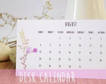 2017 Calendar, Desk Calendar, Monthly Calendar, Desk Calendar, Botanical illustration, Desk Accessories, 2017 desk calendar, calendar 2017