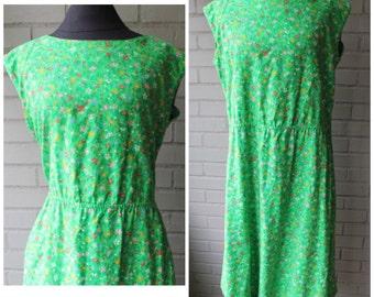 Vintage Malia 1970s Green Floral Sundress - Size XL, 12, 14, Plus Size