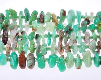 Genuine Irregular Chrysoprase Slice Beads size 2x12mm / Approximate 15.5 Inches per Strand.I-CHR-0402