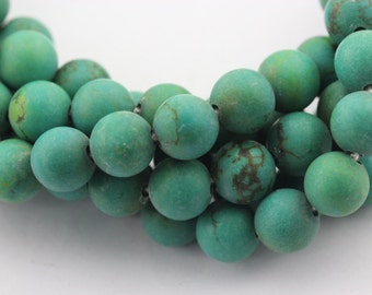 Matte Dark Green Turquoise Gemstone Round Loose Beads 4mm/6mm/8mm/10mm/12mm Approximate 15.5 Inches per Strand.R-M-TUR-0375