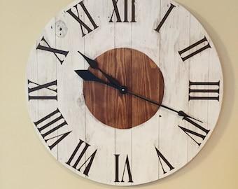 large white rustic wood clock pallet clock reclaimed wood clock large wall clock
