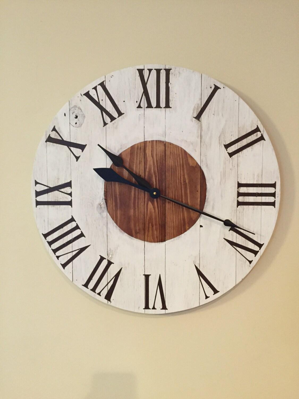 Large White Rustic Wood Clock Pallet Clock Reclaimed Wood