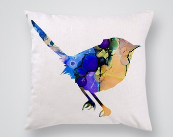 Titmouse Decorative Pillow - Birdy Throw Pillow - Art Pillow Cover - Home Decor