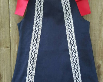 Handmade navy blue girl dress, size 2, 100% linen,