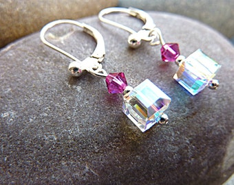 Sterling Silver Swarovski Earrings. Swarovski Cube Crystals and Fuchsia Pink, Sterling Silver / 925 Silver Dangly Earrings For Pierced Ears.